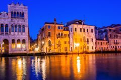 Grand canal view in Venice, Italy at blue hour before sunrise. Grand canal night view in Venice, Italy at blue hour before sunrise Royalty Free Stock Photos