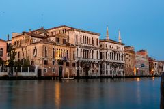 Grand canal view in Venice, Italy at blue hour before sunrise. Grand canal night view in Venice, Italy at blue hour before sunrise Stock Photos