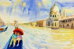 Grand Canal view in Venice, Italy. Grand Canal in Venice, Italy. Santa Maria della Salute church. Gondolas are the travel romantic in grand channel Venice Royalty Free Stock Images
