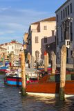 Grand Canal, vintage buildings, parked boats at the marina, Venice, Italy Stock Photography