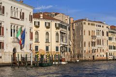 Grand Canal, vintage buildings, parked boats at the marina, Venice, Italy. VENICE, ITALY - SEPTEMBER 20, 2017: Grand Canal, vintage buildings, parked boats at stock photo