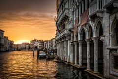 Free Grand Canal With Ca` D`Oro Palace At Sunset In Venice Stock Photo - 100132970