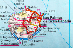 Grand Canaria map. The Island of Las Palmas Grand Canaria  in detail on the map Royalty Free Stock Photo