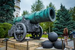 The grand cannon at Ivanovskaya Square in Moscow, Russia. royalty free stock image