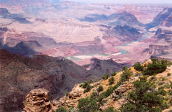 Grand Canyon_12. South Rim west of Desert View and the Rock Watch Tower.  The Colorado River is pictured here Royalty Free Stock Photography