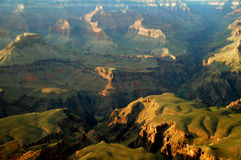 Grand Canyon. Rock formations of Grand Canyon with green Royalty Free Stock Photos