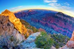 Grand Canyon. Fisheye view of the Grand Canyon at sunset Stock Photo