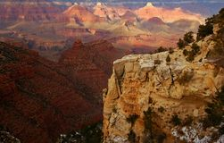 Grand Canyon. In winter with snow patches on closest cliffs royalty free stock photography