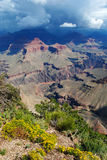 Grand Canyon. View of the Grand Canyon with dark clouds Royalty Free Stock Photography