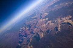 Grand Canyon. Sunrise aerial shot of the Grand Canyon ( North & South rim) and the curviture of the earth Stock Image