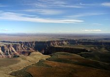 Grand Canyon Aerial. An aerial view, onboard a flightseeing tour, of the Grand Canyon stock photo