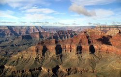 Grand Canyon Aerial. An aerial view, from onboard a flightseeing tour, of the Grand Canyon royalty free stock photography