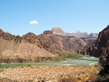 Grand Canyon Afternoon along the Colorado River. Vantage point of the Colorado River and the two bridges from the bottom of the Bright Angel trail in the Grand Stock Photos