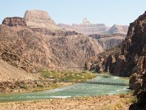 Grand Canyon Afternoon on the Colorado River. Afternoon on the Bright Angle trail in Grand Canyon National Park, with views of the two bridges Stock Images