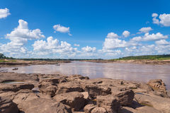 Grand Canyon amazing of rock in Mekong river, Ubonratchathani Th Stock Photos