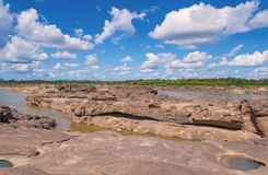 Grand Canyon amazing of rock in Mekong river, Ubonratchathani Royalty Free Stock Photos