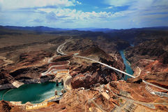 GRAND CANYON, ARIZONA, AZ, USA: A panoramic view of the Grand Canyon Nati. A panoramic view of Hoover Dam and the Colorado River Bridge in the Grand Canyon Stock Photos