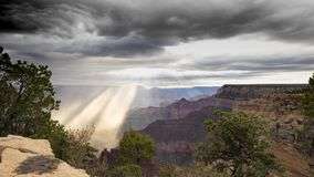 The Grand Canyon as a thunderstorm moves through Grand Canyon National Park stock video footage