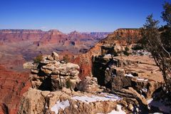 Grand Canyon, AZ, USA; snow on rocks; March Royalty Free Stock Photography