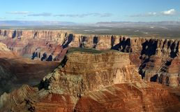 Grand Canyon Butte Aerial. An aerial view, from onboard a flightseeing tour, of a butte in the Grand Canyon royalty free stock image
