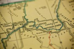Grand Canyon Map. The Grand Canyon is the center of focus, printed on an old map stock image
