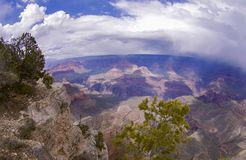 Grand Canyon with Clouds, Mountains, Rivers and Rain in Arizona USA. This is a Photograph of a Scenic Dramatic View from Grand Canyon with Clouds, Mountains stock image