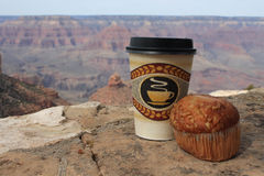 Grand Canyon, coffee and muffin. Breakfast at the Grand Canyon Royalty Free Stock Images