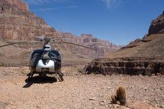 Grand Canyon and Colorado river. Landscape of the Grand Canyon, Colorado river and a helicopter Stock Photos