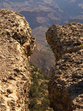 Grand Canyon crevasse. Crevasse above the Bright Angel Trail at the Grand Canyon royalty free stock image