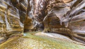 Grand Canyon de Jordânia, reserva natural do mujib do al do barranco foto de stock
