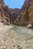 Grand Canyon de Jordania, reserva natural del mujib del al del lecho de un río seco Foto de archivo