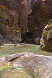 Grand Canyon de la Jordanie, réservation naturelle de mujib d'Al de Wadi Photos stock
