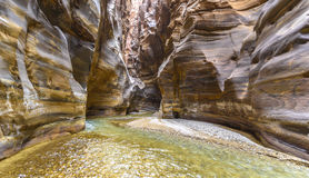 Grand Canyon de la Jordanie, réservation naturelle de mujib d'Al de Wadi Photo stock