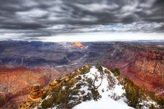Grand Canyon dramatic sky, Winter Stock Photos
