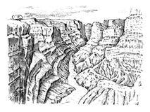 Grand Canyon en Arizona, Etats-Unis Paysage monochrome graphique vieux croquis tiré par la main gravé Crêtes de montagne illustration libre de droits