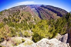 Grand Canyon Fisheye. View along a side canyon in Grand Canyon National Park using a fisheye lens Stock Photos