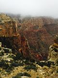 Grand Canyon. Heavy fog over Grand Canyon Stock Image