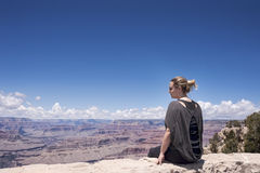 Grand Canyon hiker woman resting portrait. Royalty Free Stock Photography