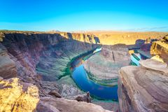 Grand Canyon Horse Shoe Bend. Majestic view of Horse Shoe Bend, Colorado River in Page, Arizona USA Royalty Free Stock Image