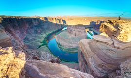 Grand Canyon Horse Shoe Bend. Majestic view of Horse Shoe Bend, Colorado River in Page, Arizona USA Stock Photo