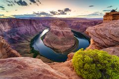 Grand Canyon Horse Shoe Bend. Majestic view of Horse Shoe Bend, Colorado River in Page, Arizona USA Stock Image