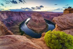 Grand Canyon Horse Shoe Bend. Majestic view of Horse Shoe Bend, Colorado River in Page, Arizona USA Royalty Free Stock Images