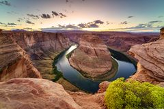 Grand Canyon Horse Shoe Bend. Majestic view of Horse Shoe Bend, Colorado River in Page, Arizona USA Royalty Free Stock Photos