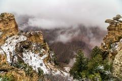 Grand Canyon i snö Arkivbild