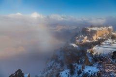 Grand Canyon i vinterstorm Fotografering för Bildbyråer