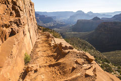 Grand Canyon Landscape Overview on Trail. Grand Canyon Landscape Overview on South Kaibab Trail stock photo