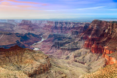 The Grand Canyon majestic vista from Desert View at dusk. Beautiful view on Grand Canyon and Colorado river from Desert View point during sunset Stock Image