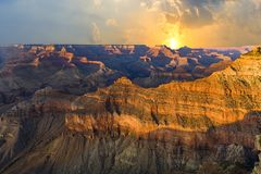 Grand Canyon at Mathers point in sunset. Light royalty free stock images