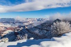 Grand Canyon met sneeuw, blauwe hemel en wolken Zuidenrand met struiken en sneeuw in voorgrond stock foto