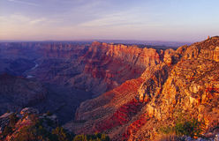 Grand Canyon National Park. Sunset View of the Grand Canyon with the Indian Watchtower at Desert View (1932), Stands at the Eastern End of the South Rim of the royalty free stock photography